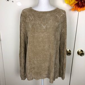 WHITE STAG SWEATER TAN EYELET SCOOP NECK SIZE SM